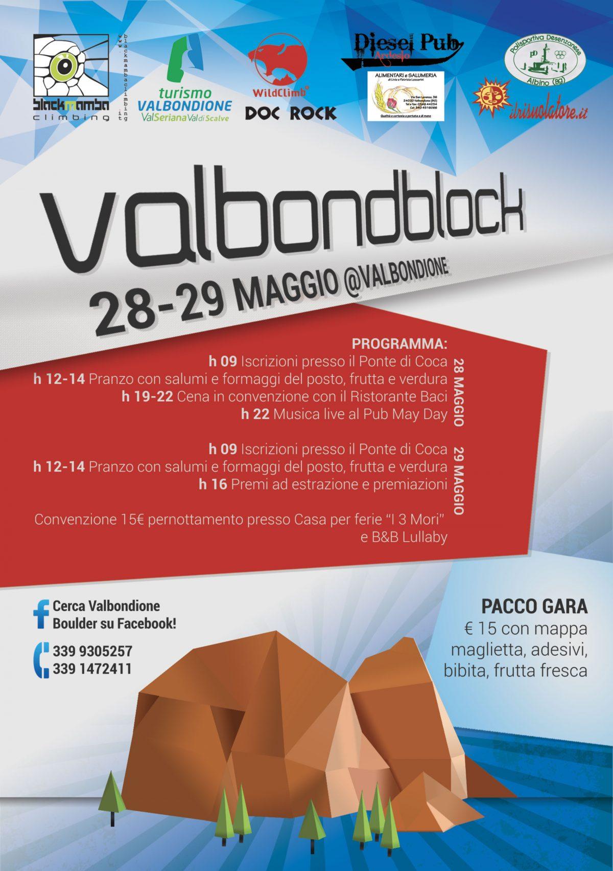Volantino Valbondblock in collaborazione con Black Mamba Climbing