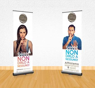 Grafica e pubblicità a Clusone: mockup d'anteprima dei cartelloni pubblicitari per InMyLiving, pubblicità votata al ramo immobiliare per valorizzare uno spazio commerciale